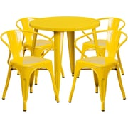 30'' Round Yellow Metal Indoor-Outdoor Table Set with 4 Arm Chairs (CH-51090TH-4-18ARM-YL-GG)
