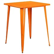 31.5'' Square Bar Height Orange Metal Indoor-Outdoor Table (CH-51040-40-OR-GG)
