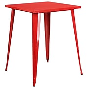 31.5'' Square Bar Height Red Metal Indoor-Outdoor Table [CH-51040-40-RED-GG]