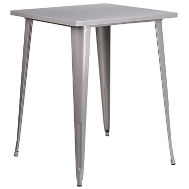 31.5'' Square Bar Height Silver Metal Indoor-Outdoor Table (CH-51040-40-SIL-GG)