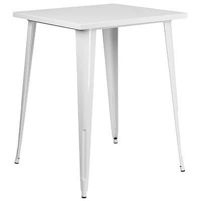 31.5'' Square Bar Height White Metal Indoor-Outdoor Table (CH-51040-40-WH-GG)