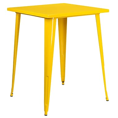 31.5'' Square Bar Height Yellow Metal Indoor-Outdoor Table (CH-51040-40-YL-GG)