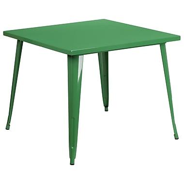 Petite table carrée en métal de 35,5 po pour intérieur/extérieur, vert (CH-51050-29-GN-GG)