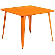 35.5'' Square Orange Metal Indoor-Outdoor Table [CH-51050-29-OR-GG]