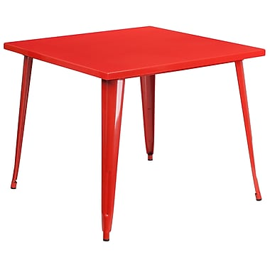 35.5'' Square Red Metal Indoor-Outdoor Table (CH-51050-29-RED-GG)