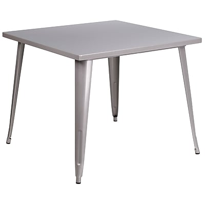 35.5'' Square Silver Metal Indoor-Outdoor Table (CH-51050-29-SIL-GG)