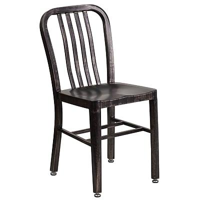 Black-Antique Gold Metal Indoor-Outdoor Chair (CH-61200-18-BQ-GG)