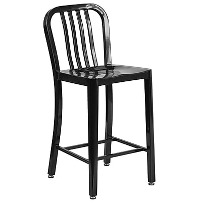 24'' High Black Metal Indoor-Outdoor Counter Height Stool with Vertical Slat Back (CH-61200-24-BK-GG)