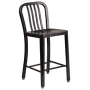 24'' High Black-Antique Gold Metal Indoor-Outdoor Counter Height Stool with Vertical Slat Back (CH-61200-24-BQ-GG)