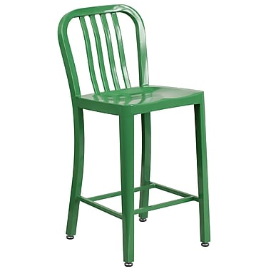 24'' High Green Metal Indoor-Outdoor Counter Height Stool with Vertical Slat Back (CH-61200-24-GN-GG)