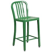 24'' High Green Metal Indoor-Outdoor Counter Height Stool with Vertical Slat Back [CH-61200-24-GN-GG]
