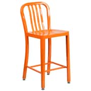 24'' High Orange Metal Indoor-Outdoor Counter Height Stool with Vertical Slat Back (CH-61200-24-OR-GG)