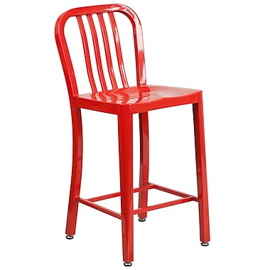 24'' High Red Metal Indoor-Outdoor Counter Height Stool with Vertical Slat Back (CH-61200-24-RED-GG)