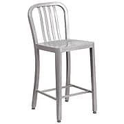 24'' High Silver Metal Indoor-Outdoor Counter Height Stool with Vertical Slat Back (CH-61200-24-SIL-GG)
