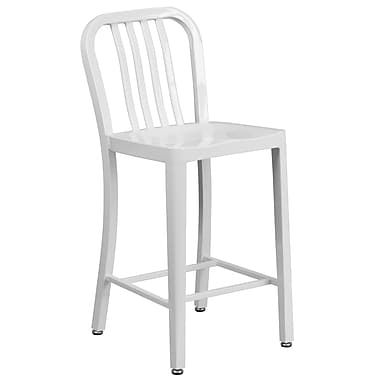 24'' High White Metal Indoor-Outdoor Counter Height Stool with Vertical Slat Back (CH-61200-24-WH-GG)