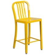 24'' High Yellow Metal Indoor-Outdoor Counter Height Stool with Vertical Slat Back (CH-61200-24-YL-GG)