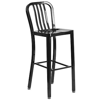 30'' High Black Metal Indoor-Outdoor Barstool with Vertical Slat Back (CH-61200-30-BK-GG)