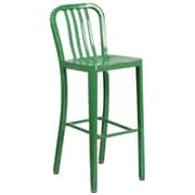 30'' High Green Metal Indoor-Outdoor Barstool with Vertical Slat Back (CH-61200-30-GN-GG)