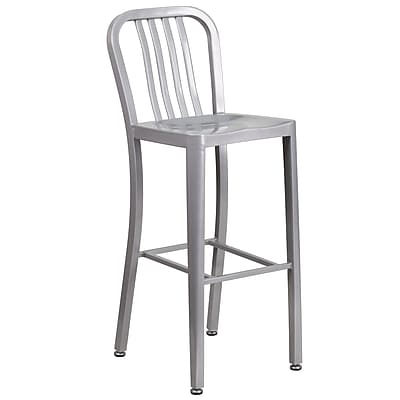 30'' High Silver Metal Indoor-Outdoor Barstool with Vertical Slat Back (CH-61200-30-SIL-GG)