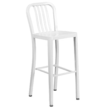 30'' High White Metal Indoor-Outdoor Barstool with Vertical Slat Back (CH-61200-30-WH-GG)