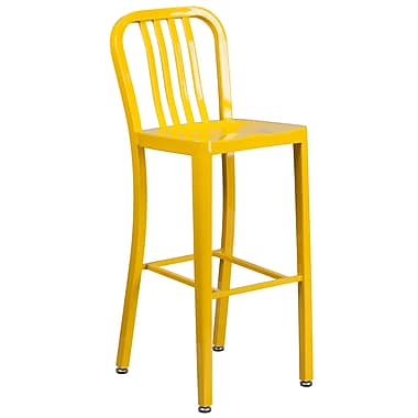 30'' High Yellow Metal Indoor-Outdoor Barstool with Vertical Slat Back (CH-61200-30-YL-GG)