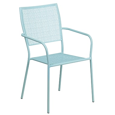 Sky Blue Indoor-Outdoor Steel Patio Arm Chair with Square Back (CO-2-SKY-GG)