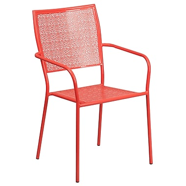 Flash Furniture Indoor-Outdoor Steel Patio Arm Chair with Square Back, Coral (CO2RED)
