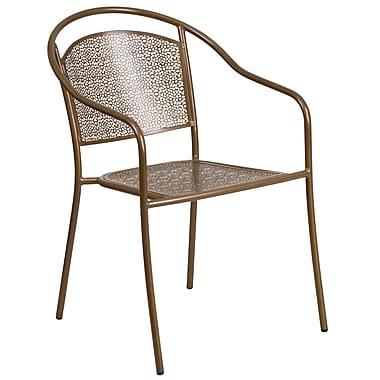 Chaise de patio en acier à bras ajourés et dossier arrondi, intérieur/extérieur, doré (CO-3-GD-GG)