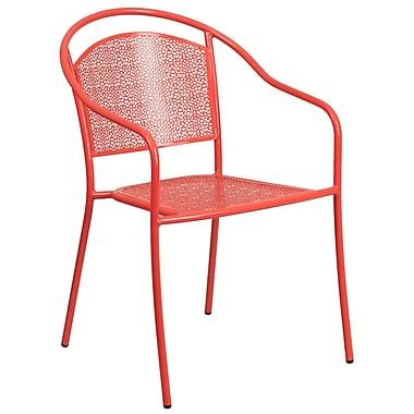 Chaise de patio en acier avec accoudoirs et dossier rond, intérieur/extérieur, corail (CO-3-RED-GG)