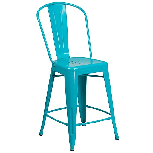 24'' High Crystal Teal-Blue Metal Indoor-Outdoor Counter Height Stool with Back (ET-3534-24-CB-GG)