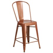 24'' High Copper Metal Indoor-Outdoor Counter Height Stool with Back (ET-3534-24-POC-GG)