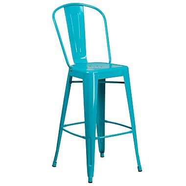 30'' High Crystal Teal-Blue Metal Indoor-Outdoor Barstool with Back (ET-3534-30-CB-GG)