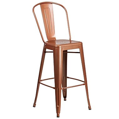 30'' High Copper Metal Indoor-Outdoor Barstool with Back (ET-3534-30-POC-GG)