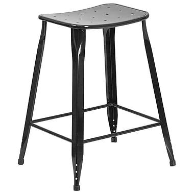 Tabouret de comptoir en métal, intérieur/extérieur, hauteur de 24 po, noir (ET-3604-24-BK-GG)