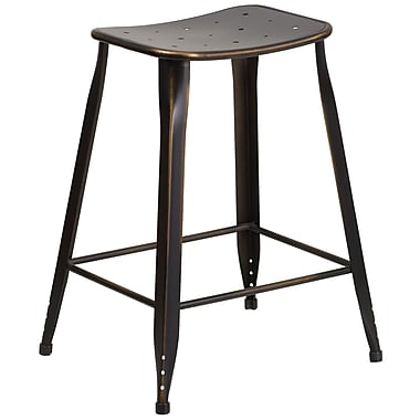 24'' High Distressed Copper Metal Indoor-Outdoor Counter Height Stool (ET-3604-24-DISCOP-GG)