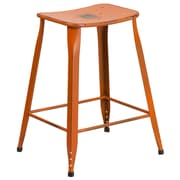 24'' High Distressed Orange Metal Indoor-Outdoor Counter Height Stool (ET-3604-24-DISOR-GG)