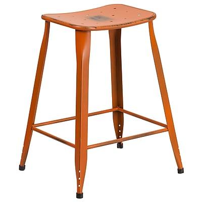 24'' High Distressed Orange Metal Indoor-Outdoor Counter Height Stool (ET-3604-24-DISOR-GG)