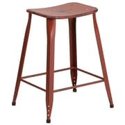 24'' High Distressed Kelly Red Metal Indoor-Outdoor Counter Height Stool (ET-3604-24-DISRED-GG)