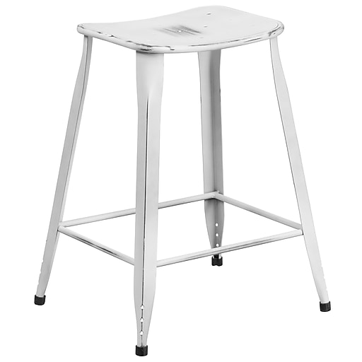 24'' High Distressed White Metal Indoor-Outdoor Counter Height Stool (ET-3604-24-DISWH-GG)