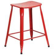 Tabouret de comptoir en métal, intérieur/extérieur, hauteur de 24 po, rouge (ET-3604-24-RED-GG)