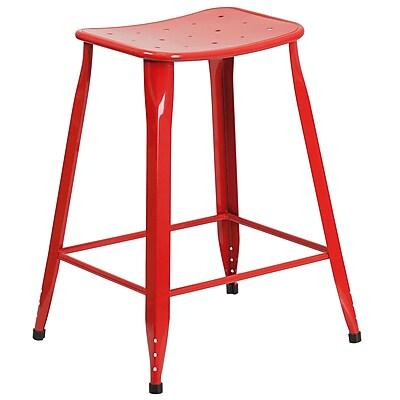 24'' High Red Metal Indoor-Outdoor Counter Height Stool (ET-3604-24-RED-GG)
