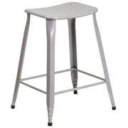 24'' High Silver Metal Indoor-Outdoor Counter Height Stool (ET-3604-24-SIL-GG)