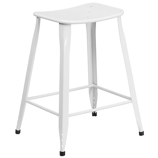 24'' High White Metal Indoor-Outdoor Counter Height Stool (ET-3604-24-WH-GG)