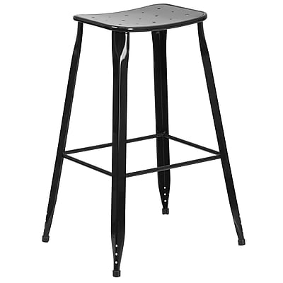 30'' High Black Metal Indoor-Outdoor Barstool (ET-3604-30-BK-GG)