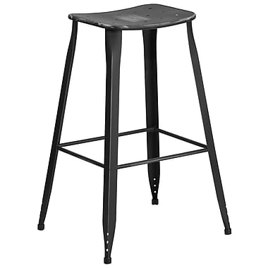 30'' High Distressed Black Metal Indoor-Outdoor Barstool (ET-3604-30-DISBK-GG)