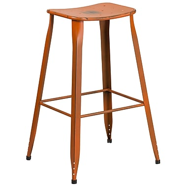 30'' High Distressed Orange Metal Indoor-Outdoor Barstool (ET-3604-30-DISOR-GG)