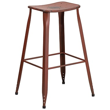 30'' High Distressed Kelly Red Metal Indoor-Outdoor Barstool (ET-3604-30-DISRED-GG)