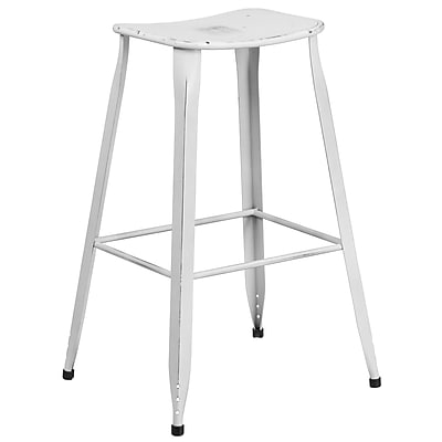 30'' High Distressed White Metal Indoor-Outdoor Barstool (ET-3604-30-DISWH-GG)