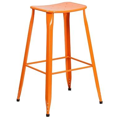 30'' High Orange Metal Indoor-Outdoor Barstool (ET-3604-30-OR-GG)