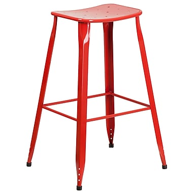30'' High Red Metal Indoor-Outdoor Barstool (ET-3604-30-RED-GG)